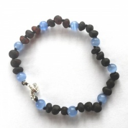Adjustable Unpolished Amber and Blue Cats Eye Anklet / Bracelet